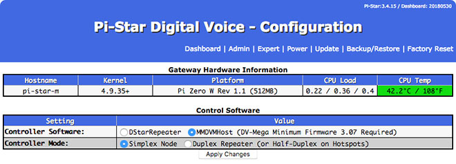 Basic configuration settings - Control Software