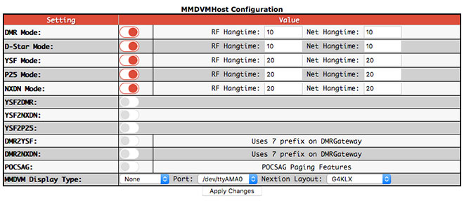 MMDVMHost Configuration settings