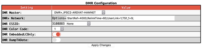 Digital mode configuration settings - DMR+