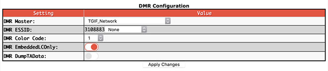 Digital mode configuration settings - Basic options for all DMR Masters