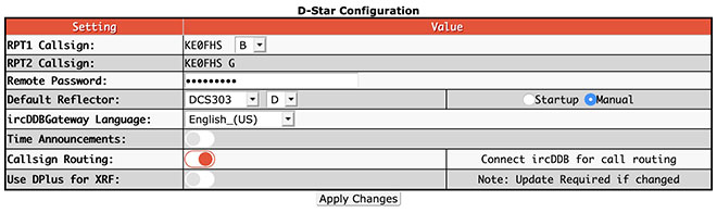 Digital mode configuration settings - D-STAR