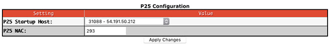 Digital mode configuration settings - P25