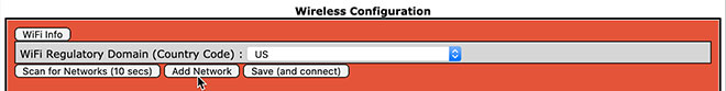 WiFi configuration - add network