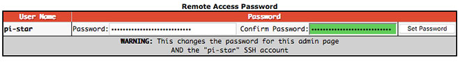 Remote Access Password configuration